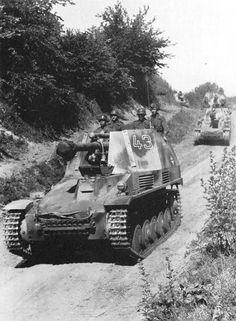 "Wespe SPGs, ""Gross deustchland"" Artillery Regiment, are rolling toward the battlefield during Operation Citadel, Kursk, July 1943"
