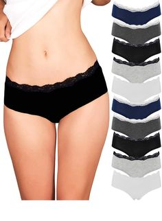 Womens Lace Underwear Hipster Panties Cotton Spandex - 10 Pack Colors and  Patterns May Vary 640f4045e