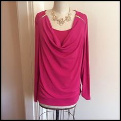 Cute Zipper Top So pretty in pink. Just love the details on the shoulders with the gold zippers and the scoop cowl neckline. The tops has a banded hem. See photo. Great stretch with 95% polyester and 5% Spandex. Machine wash/dry low Bundle And Save Charter Club Tops