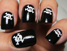 Fing'rs Edge black nails with crossbones. Is it supposed to be a pirate or is it just a regular skull and crossbones? Either way this spe. Punk Nails, Edgy Nails, Grunge Nails, Swag Nails, Queen Nails, Makeup Tattoos, Best Acrylic Nails, Dream Nails, Skull And Crossbones