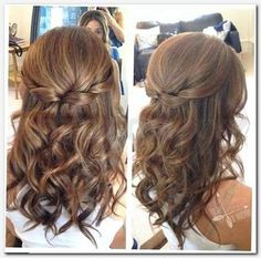 Awesome Easy Semi Formal hairstyles for long hair - Frisuren - Wedding Hairstyles Formal Hairstyles For Long Hair, Wedding Hairstyles Half Up Half Down, Down Hairstyles, Easy Hairstyles, Prom Hairstyles, Black Hairstyles, Medium Curled Hairstyles, Engagement Hairstyles, Bridesmaids Hairstyles