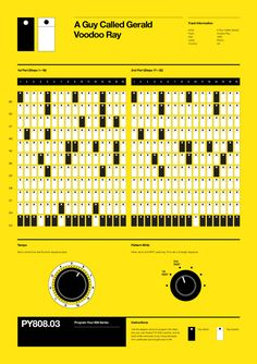 Program Your 808 is a series of posters by Rob Ricketts that show popular drum sequences that were programmed using the Roland TR-808 Drum Machine.