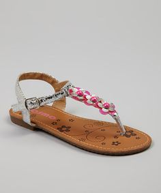 Another great find on #zulily! Silver Flower T-Strap Sandal by Josmo #zulilyfinds