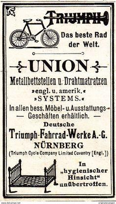 Werbung - Original-Werbung/ Anzeige 1901 - UNION METALLBETT / TRIUMPH FAHRRAD-WERKE NÜRNBERG - ca. 45 X 75 mm