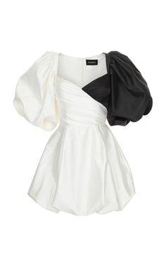 Puff-Sleeve Wrap-Effect Silk Mini Dress Kpop Fashion Outfits, Stage Outfits, Mode Outfits, High Fashion Dresses, Dance Outfits, Classy Outfits, Stylish Outfits, Mode Kawaii, Mode Kpop