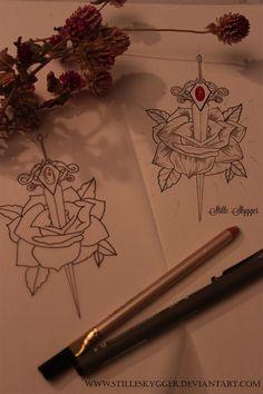 Dagger and Rose Tattoo Design by StilleSkygger
