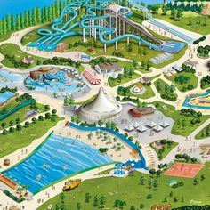 AQUAFAN-Riccione Italy-Theme park illustration on Behance Cool Water Slides, Unique Hotels, Parking Design, Easy Watercolor, Vacation Places, Construction, Amusement Park, Hotels And Resorts, Landscape Architecture