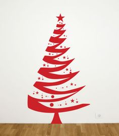 Christmas Tree Wall Decal - Christmas Designs Don't have enough space for a pine tree? Diy Christmas Decorations Easy, Tree Decorations, Christmas Diy, Christmas Cards, Christmas Stuff, Christmas Ornament, Merry Christmas, Christmas Tree Wall Decal, Fabric Christmas Trees