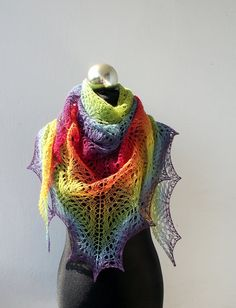 Rainbow hand knitted lace shawl