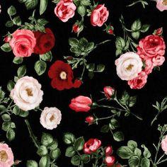 Bouquet Moderne Rose Floral Black