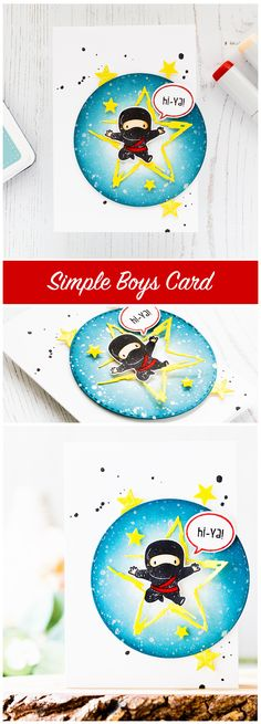 Fun but simple and easy Ninja boys card. Find out more by clicking on the following link: http://limedoodledesign.com/2016/12/hi-ya-simple-boys-card/
