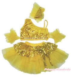 >> Click to Buy << Sparkle Sequins Yellow Ruffle Top Kids Girl Ballet Dance Tutu Skirt Costume 1-8Y B268 #Affiliate