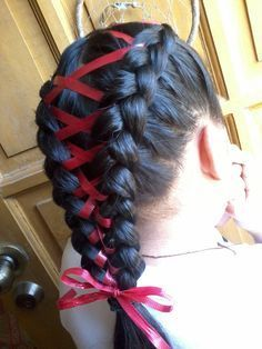 Pretty Braids with Ribbons! – Onika Bryson Pretty Braids with Ribbons! Pretty braids with ribbons! Two French Braids, French Braid Ponytail, French Braid Hairstyles, Pretty Hairstyles, Wedding Hairstyles, Braided Buns, Messy Buns, French Hair, Ribbon Hairstyle