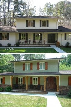 Painted Exterior Rock Siding Before Amp After 70s Remodel