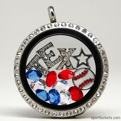 Texas baseball themed locket necklace from SportLockets.com.  Customize with your own letters!