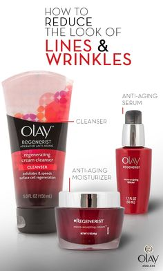 When you use Olay Regenerist, your skin won't show your age. Reduce the look of lines and wrinkles with this ultimate skincare routine. Start with a mild cleanser to remove dirt and oil from your skin. Next, apply an anti-aging moisturizer with amino peptides and vitamin B3, like Olay Regenerist Micro-Sculpting Cream, to help reduce the look of fine lines and wrinkles. Then finish off with anti-aging primer around your eyes to help soften the look of imperfections like crow's feet.