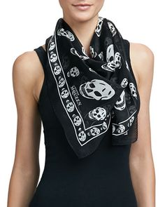 Skull-Print Silk Chiffon Scarf, Black/Ivory by Alexander McQueen at Neiman Marcus. Alexander Mcqueen Skull Scarf, Josie Loves, Skull Print, Square Scarf, Black Silk, White Silk, Silk Chiffon, Black Print, Ivory