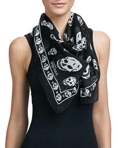 Skull-Print Silk Chiffon Scarf, Black/Ivory by Alexander McQueen at Neiman Marcus. Alexander Mcqueen Skull Scarf, Josie Loves, Square Scarf, Black Silk, White Silk, Silk Chiffon, Black Print, My Style, Skull Print