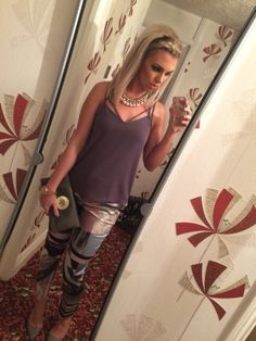 River Island grey Cami top, River Island cigarette trousers, Mulberry clutch, Vivienne Westwood heels & YSL earrings..