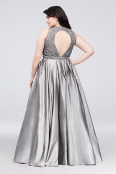 97810008198 Super-lustrous satin forms the soft statement skirt of this formal plus-size  ball
