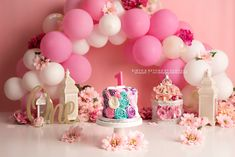 girly pink and florals cake smash photography set up for girl first birthday Balloon Cake, Balloon Arch, Balloon Garland, Balloon Decorations, Birthday Party Decorations, Photography Set Up, Cake Smash Photography, Happy Birthday Girls, Girl First Birthday