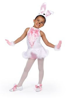 14260 - Cotton Tail Cutie - Hop, hop, hop across the stage in this pink and white velvet bodice with feather marabou trim peplum over attached hot pants with lined iridescent paillette sequin mesh front inset.