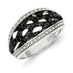 1/2 Carat Black White Diamond Weave Style Ring In Sterling Silver Available Exclusively at Gemologica.com