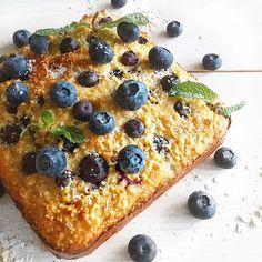 eiwitrijke glutenvrije blauwe bessen cake met citroen