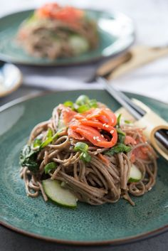 Soba noodle salad recipes are great thing to consider for those looking to take your lunch to work. Easy filling recipe for lunch or dinner. You'll need soba noodles, smoked salmon, spinach, ginger, cucumbers and just a few more pantry staples for this simple recipe.