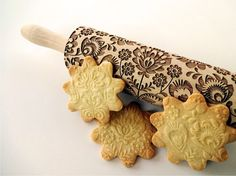 Embossing Rolling pin with FOLK pattern. Engraved rolling pin for embossed cookies. Flower. National motive