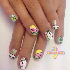 Unicorns and watermelons, what a mani!