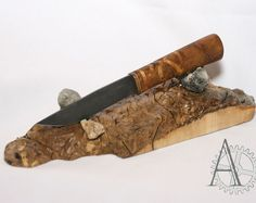 The maple burl wood by UnusualWorkshop on Etsy Knife Stand, Knife Holder, Maple Burl, Rustic, Wood, Knives, Blade, Seal, Gifts