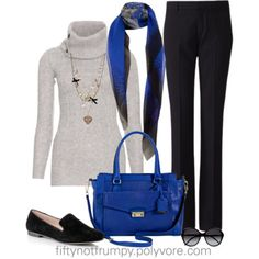 Working mom outfit idea: Brightening up a Casual Friday winter look with pops of blue. (Via Fifty Not Frumpy on Fashion Over Fifty, Over 50 Womens Fashion, Fall Fashion Trends, Fashion Over 50, Winter Fashion, Stylish Outfits, Fashion Outfits, Stylish Clothes, Women's Fashion