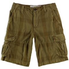 Aeropostale Mens A87 Plaid Casual Cargo Shorts ($35) ❤ liked on Polyvore featuring men's fashion, men's clothing, men's shorts, men's apparel, men's plaid cargo shorts, mens clothing, mens shorts and mens cargo shorts