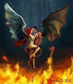 Angel and devil lesbian for