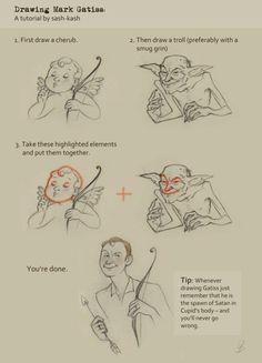 Drawing Mark Gatiss: A tutorial by sash-kash. This is so funny I had to! Sherlock Holmes, Sherlock Fandom, Sherlock John, Sherlock Humor, Martin Freeman, Benedict Cumberbatch, Mark Gatiss, Mrs Hudson, Sherlolly