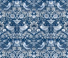 William Morris ~ Strawberry Thief ~ Lonely Angel fabric by peacoquettedesigns on Spoonflower - custom fabric