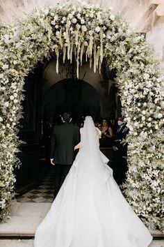 Wedding Bells, Wedding Ceremony, Wedding Flowers, Wedding Dresses, Gown Wedding, Monique Lhuillier, Balloon Clouds, Indoor Ceremony, Floral Arch