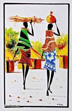 can still tell they are women and are beautiful in shape and nature. man see the body and everything, what does feminism have to say about that . MADE BEAUTIFUL AND 'EYE CANDY' because of the pattern (art) Afrique Art, African Art Paintings, Art Africain, African American Art, African Women, Afro Art, Naive Art, Tribal Art, Black Art