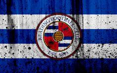 Download wallpapers 4k, FC Reading, grunge, EFL Championship, art, soccer, football club, England, Reading, logo, stone texture, Reading FC