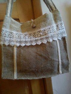 FREE SHIPPING Handmade Unique Burlap Jute Bag by SanjaNaART