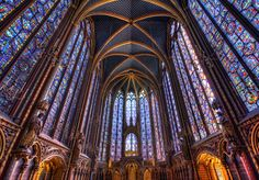 Stained glass windows at the Sainte Chappell in Paris France