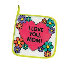 """Color Your Own Canvas """"Mom"""" Pot Holders - OrientalTrading.com"""