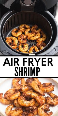 Easy Air Fryer shrimp , perfect healthy recipe and can be made with frozen or fresh shrimp. Air fried shrimp works great for keto, low carb, clean eating, gluten free, paleo, and whole 30. www.noshtastic.com