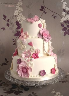 Three Tier Smooth White Colored with Roses Cake