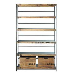 bibliothèque de style industriel acier et bois … | Pinteres…