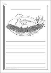 A set of simple printable sheets featuring images from the story of Handa's Surprise for children to colour along with writing lines for story-related writing. Talk 4 Writing, Writing Lines, Writing Area, Eyfs Activities, Writing Activities, Literacy Year 1, Handas Surprise, English Units, Key Stage 2