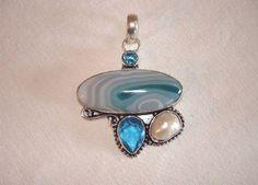 "Aquamarine Green Botswana Agate Blue Topaz River Pearl .925 Silver Pendant 2.25"" #Handmade #Pendant"