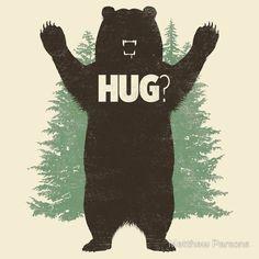Bear hug print illustration by Matthew J Parsons Illustrations, Illustration Art, Popular Art, Love Bear, Bear Art, Cute Animals, Tapestry, Wall Tapestries, Art Prints
