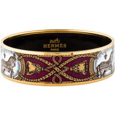 Hermes Wide Enamel Bangle ($425) ❤ liked on Polyvore featuring jewelry, bracelets, horse jewelry, gold tone jewelry, wide bangle, enamel bangle bracelet and bangle jewelry